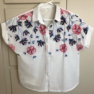 Sheer Blouse with Embroidered Floral Accents
